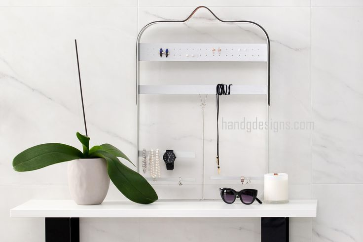 Jewellery Display // Jewellery Hanger // Brushed Silver Jewellery Stand // Jewelry Display // Jewelry Hanger // Modern Jewellery Display // Jewellery // Necklace Holder // Ring Holder // Leather Strap . Designed by Hailey of H and G Designs  2016. www.handgdesigns.com