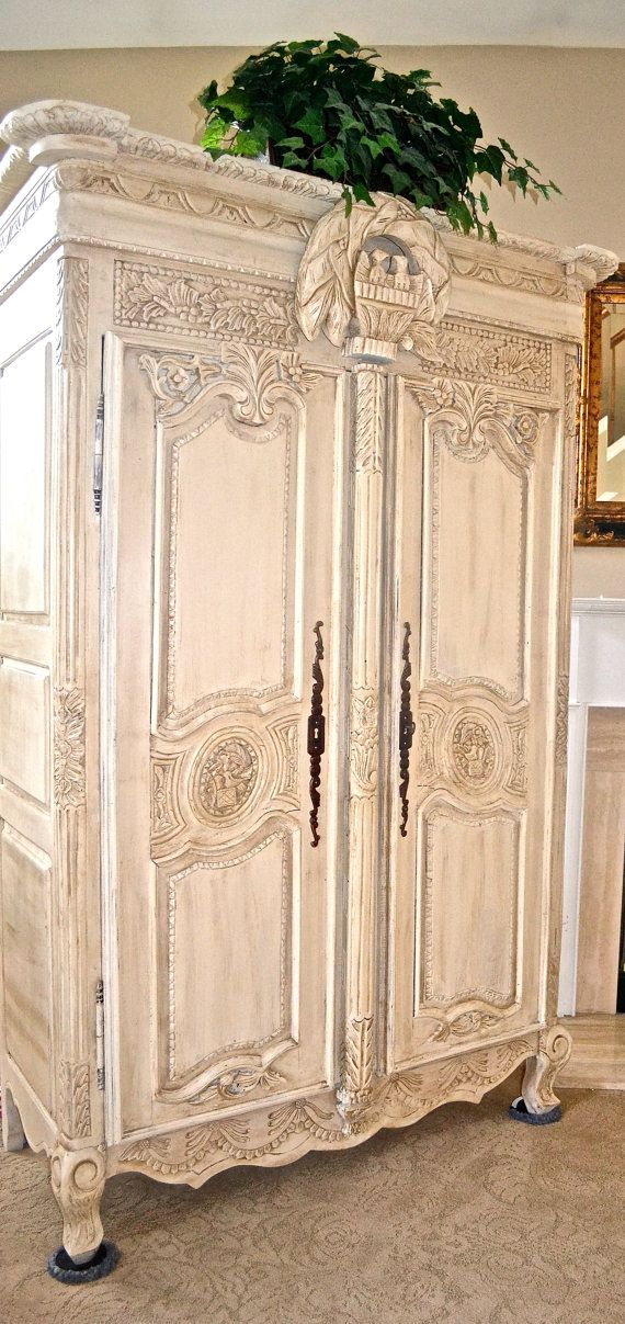 Antique Shabby Chic French Armoire. - looks like Old White with dark wax