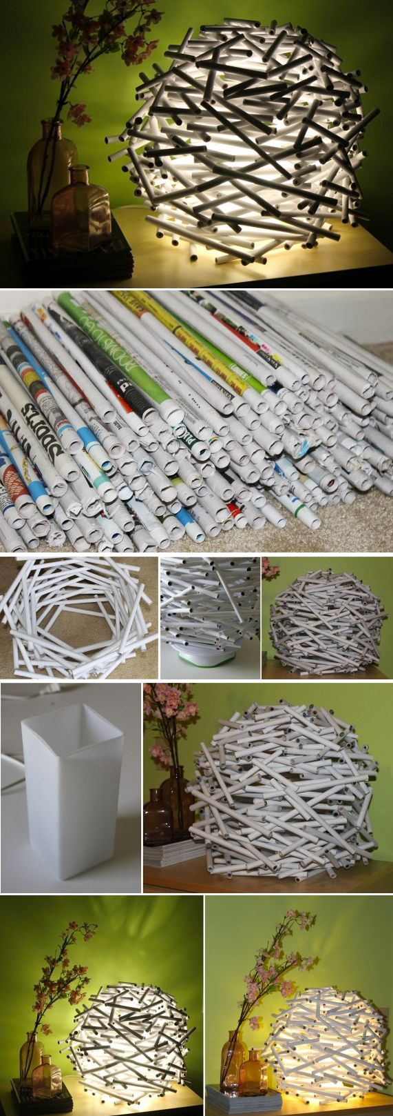 {DIY} lamp style bird nest with newspaper