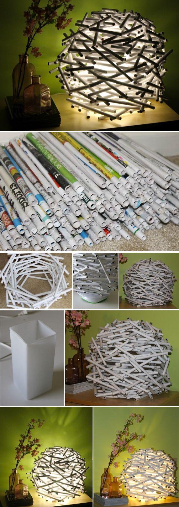 Lampara de varas de papel