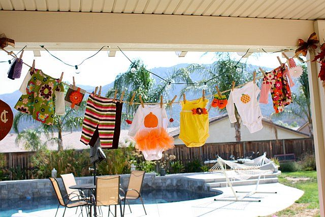Fall baby shower decorations clothesline clotheslines for Baby clothesline decoration