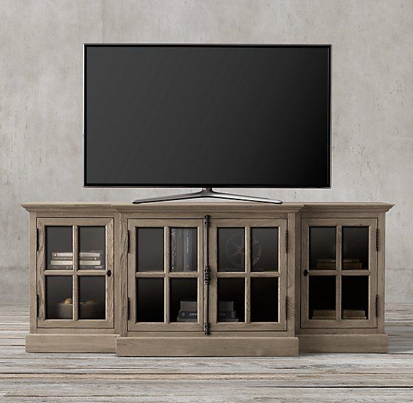 "80""W x 23¾""D x 32""H Aged oak  French Casement 80"" Media Console"