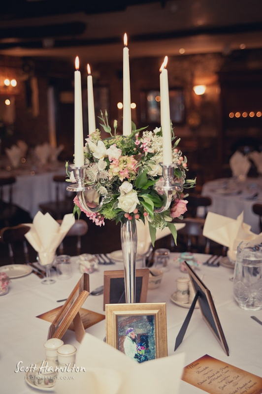 Vintage candelabra centrepiece. The rounder shape to see what you think. Do you prefer this or the more draped options?