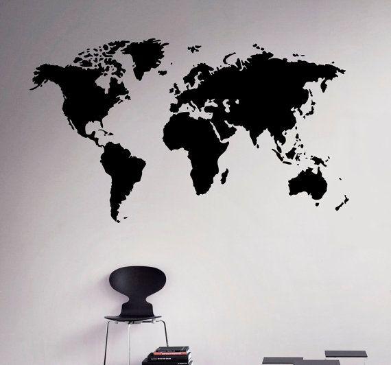 Wereld kaart muur Vinyl Decal Globe Planet door USAmadeproducts