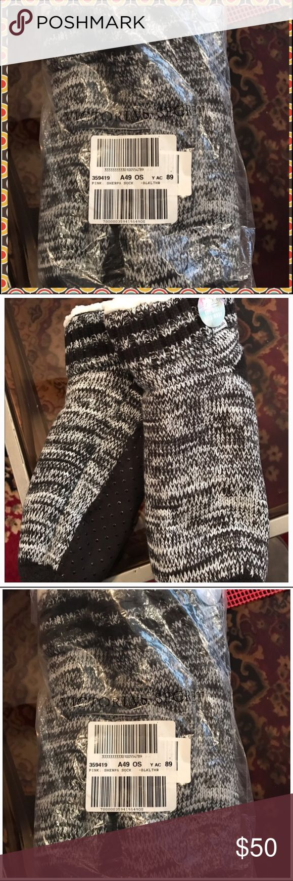 BNWT Pink Victoria'sSecret Black Mark Sherpa Socks BNWT PINK Victoria's Secret black marl Sherpa socks.  Super thick and soft and warm.  Very hard to find.  ALL SOLD OUT!!! No trades. PINK Victoria's Secret Accessories