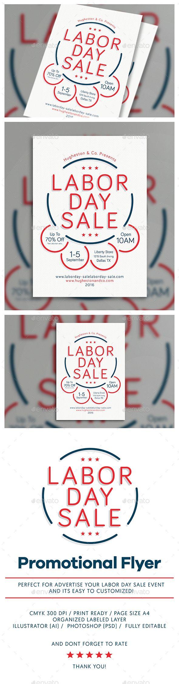 Labor Day Flyer Template PSD, AI Illustrator