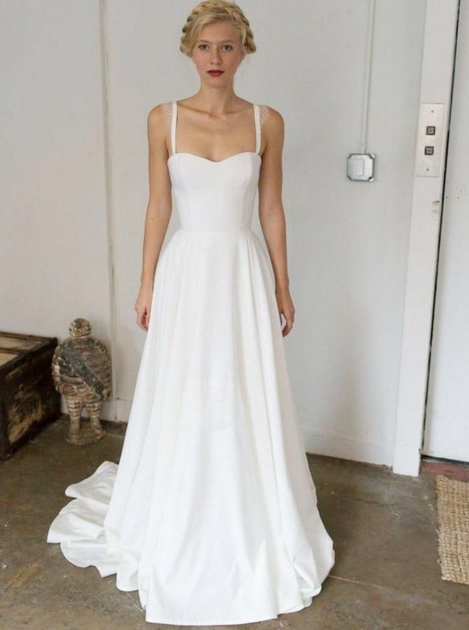 A-Line Straps Sweep Train Sleeveless Stain Simple Wedding Dress