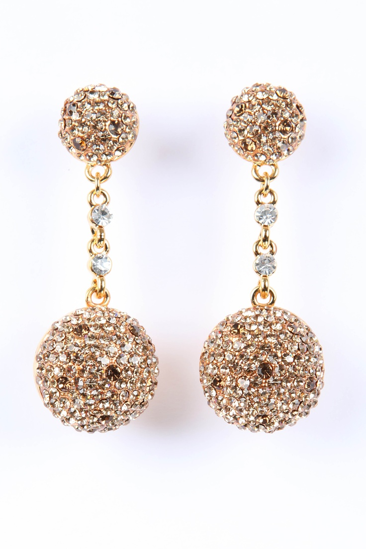 Gold Bronze Crystal Ball Earrings