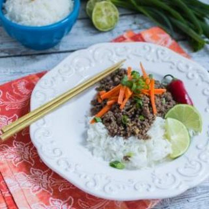 Thai Beef Rice Bowl Recipe Main Dishes with ground beef, fresh ginger ...