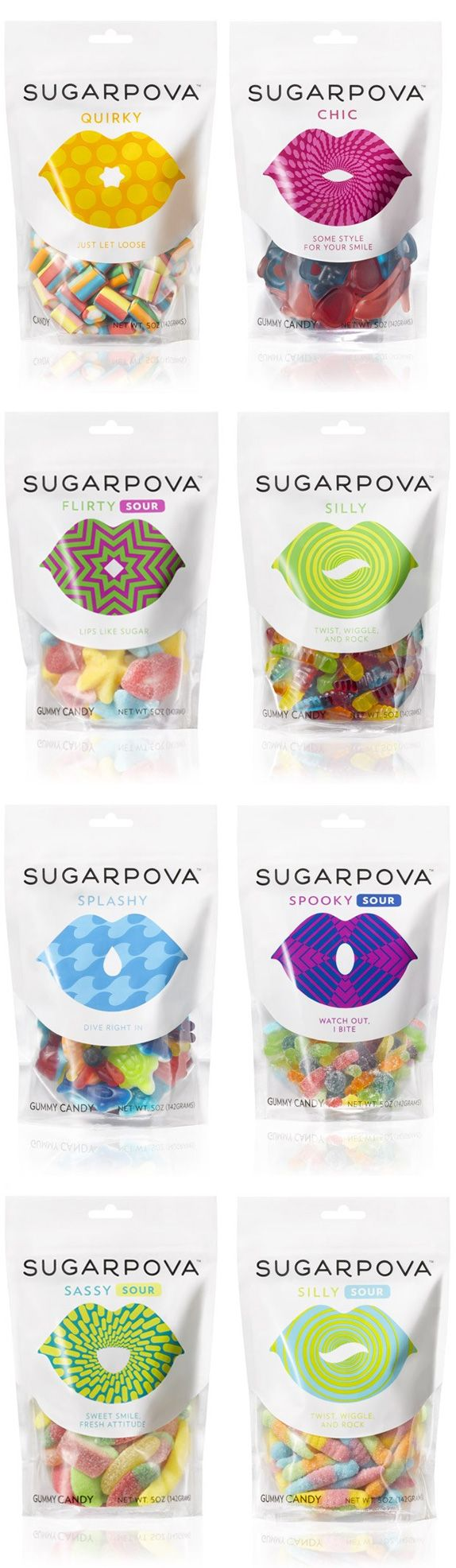 Sugarpova Logo and Packaging.lip shape that can be altered to convey the many attitudes of the brand — chic, cheeky, silly, sassy, flirty, quirky, spooky, and smitten — corresponding with different shapes and flavors of the gummies themselves.