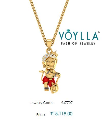 """#Real #Diamonds #Adorned #14k Yellow #Gold 'Bal Hanuman' #Pendant Without #Chain  #Price : Rs. 15,119.00  #Jewelry_Code : 947707  #Material : 14K Gold """