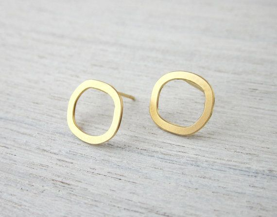 Small Hollow Circle Post Earrings in Gold, minimalist jewelry on Etsy, Sold