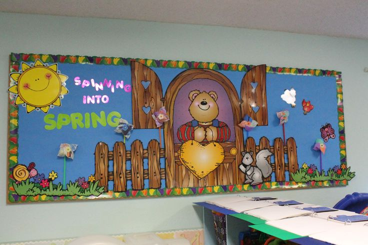 My spinning into spring bulletin board from this year for Ways to decorate a bulletin board
