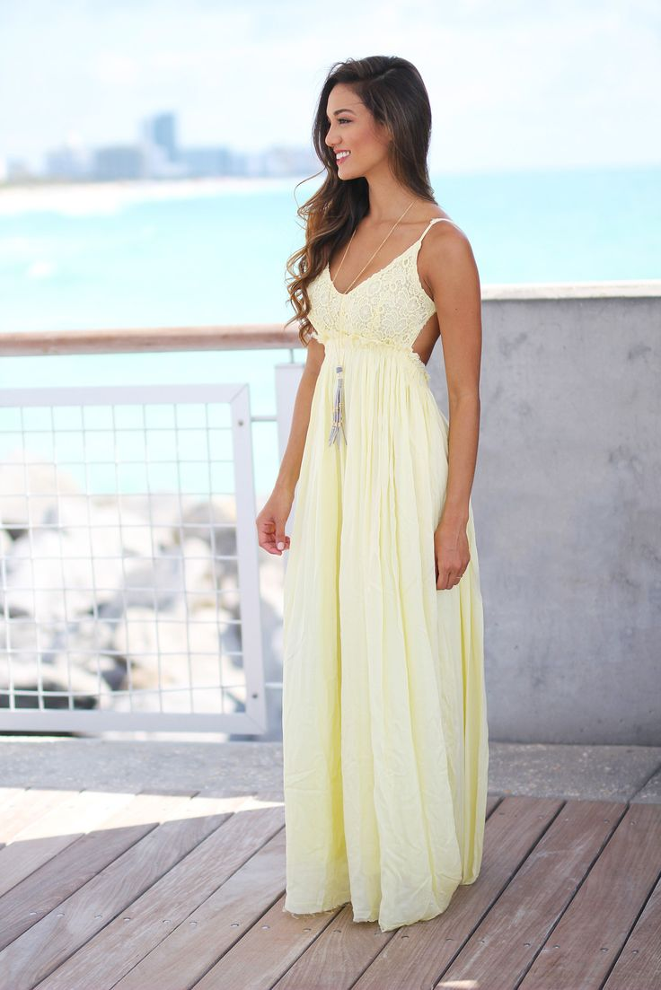 It is BACK! Take a look at this super elegant new Yellow Lace Maxi Dress with Open Back! Perfect for any special occasion! We love its beautiful skirt and gorgeous open back! - Lining:100% Polyester -