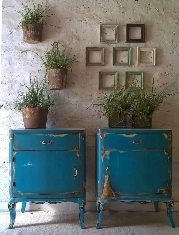 Mesas de luz Luis XV Azul patinado.