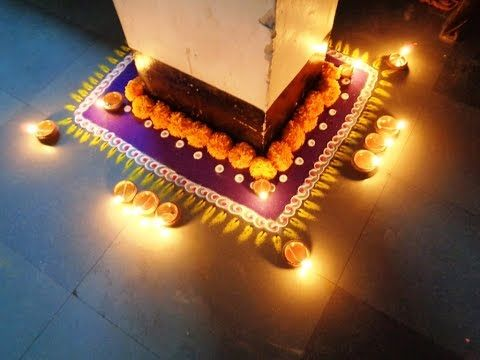 beautiful diwali special corner latest rangoli - YouTube