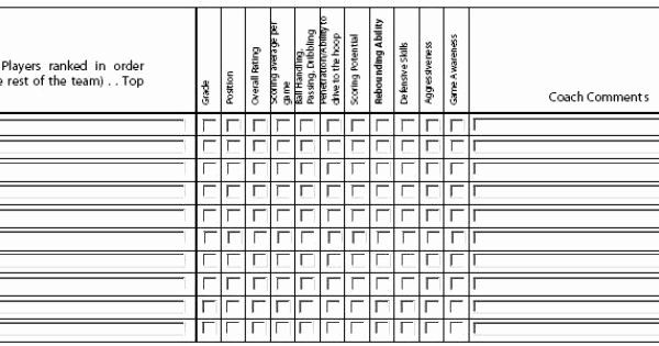 Basketball Player Evaluation Form Unique Youth Basketball Player Evaluation Form Basketball Evaluation Form Basketball Players Evaluation