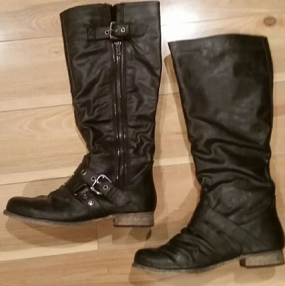 Carlos by Carlos Santana Boots Super cute.  Gently worn twice.  Small unnoticeable scuff on one boot (I'll try to polish it to new) otherwise in great condition. Outer zip and buckle detail. Carlos Santana Shoes Heeled Boots