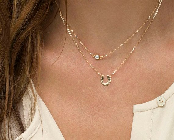 Tiny Horsehoe Necklace /  Delicate Chain in 14k Gold Fill, Rose Gold Fill or Sterling Silver / Dainty Horseshoe Necklace @sallweiss- I thought you'd like. ❤️❤️