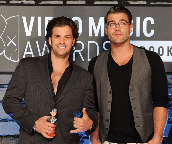 Johnny Bananas and CT Tamburello of MTV's 'The Challenge: Rivals II' photographed on the red carpet at the 2013 MTV Video Music Awards in Brooklyn, New York. | MTV Photo Gallery