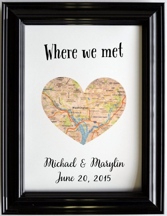 Benutzerdefinierte Hochzeitstag Geschenk für Paare personalisierte Karte Kunst Engagement Geschenke Karte Herz drucken, wo wir uns getroffen haben, präsentiert Verlobten ihn   – Geschenke