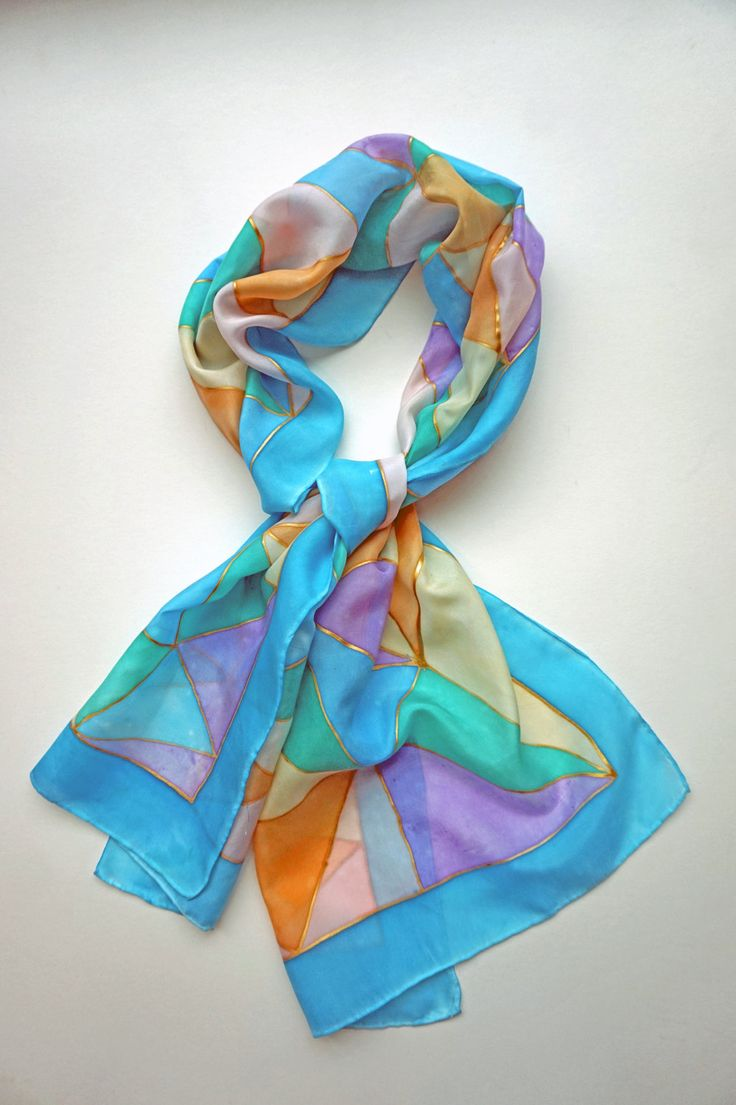 Pastel hand painted silk scarf by SofiaHartLondon on Etsy