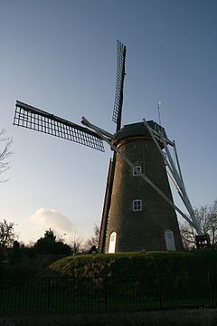 Aan de Pegstukken is a windmill located in Schijndel, North Brabant, Netherlands. Built in 1845 on an artificial hill, the windmill functioned as a gristmill. The mill was built as a tower mill and its sails have a span of 25.25 metres (82.8 ft). The mill is a national monument (nr 33574) since 19 September 1973. The name of the mill comes from the street it is located on.
