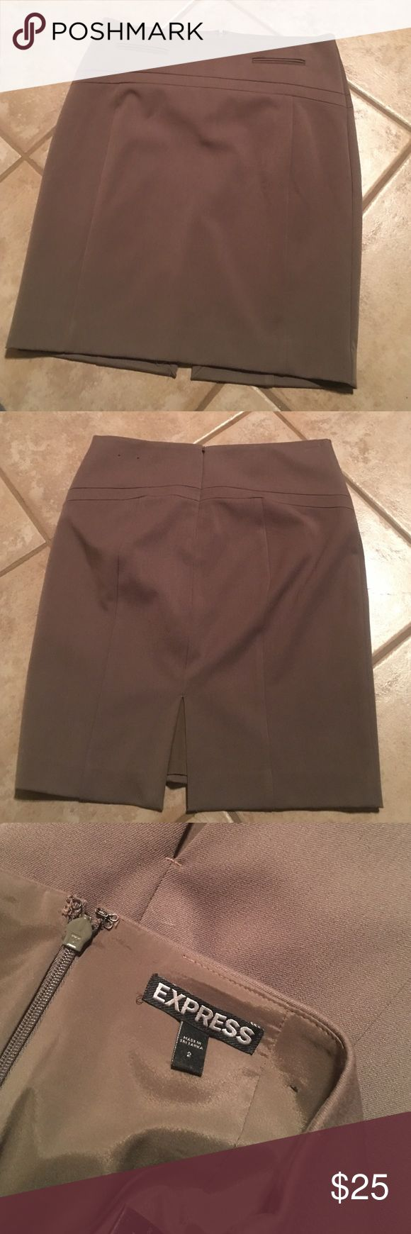 Express pencil skirt Tan pencil skirt with lining. Excellent condition! Express Skirts Pencil