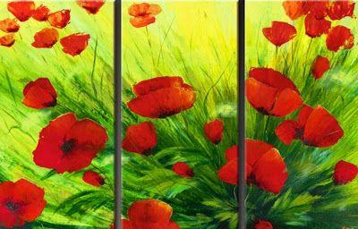 Cuadros trípticos de flores modernas | Bodegones y Paisajes Cuadros al Óleo