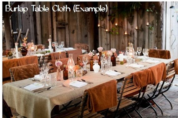 Table covers burlap table cloths and runners on pinterest for 12 ft table runner