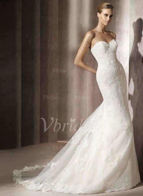 Bröllopsklänningar - $236.25 - Trumpet/Sjöjungfru Hjärtformad Chapel släp Satäng Tyll Bröllopsklänning med Spets Plisserad (00205001863)