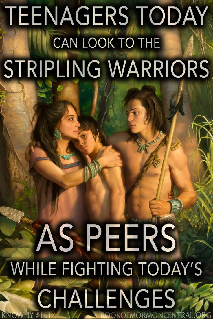 """Some have wondered just how old the strippling warriors were. While their fathers were still under oath not to take up arms again, these sons were old enough to fight, but young enough to have not made that oath themselves. Helaman told Moroni that they were """"very young"""", and called them his """"little sons"""", descriptions that suggest they were younger than the usual age of a soldier. https://knowhy.bookofmormoncentral.org/content/how-old-were-the-stripling-warriors #Teenagers #Youth"""