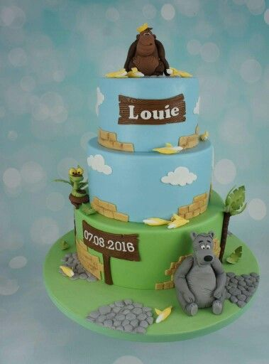 Jungle book cake with handmade edible Baloo, King Louie and Kaa.   Making fun cakes in Copenhagen, Denmark -   www.bakemydaydk.com