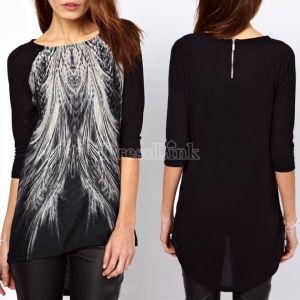 Women Peacock Tail Printed Asymmetric Hem Back Zip Top Blouse Long Shirt
