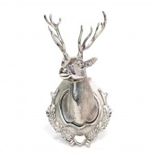 silver sculpture | Polished Silver Contemporary Stag Head Wall Sculpture