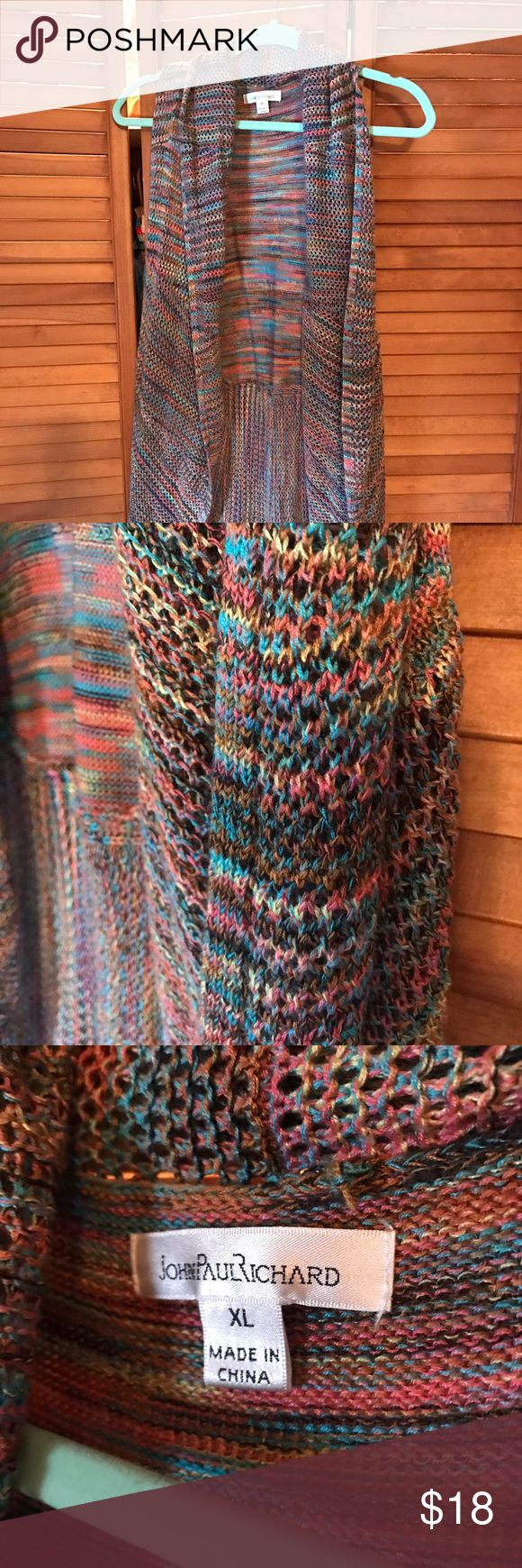 Hippy vest multi colored Beautiful crochet vest in multi colours. Non smoker. Wow once. Excellent condition john paul richards Sweaters Cardigans