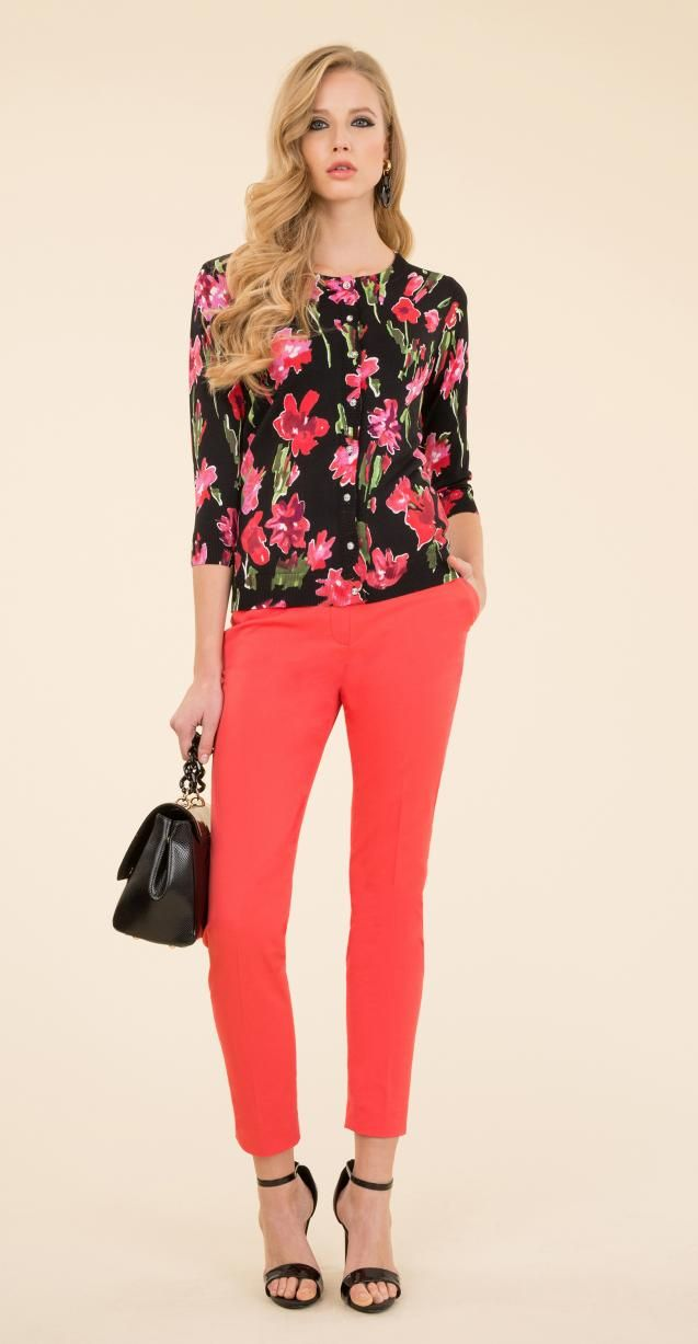 Floral printed jacket, stretch trousers and Isabel bag.