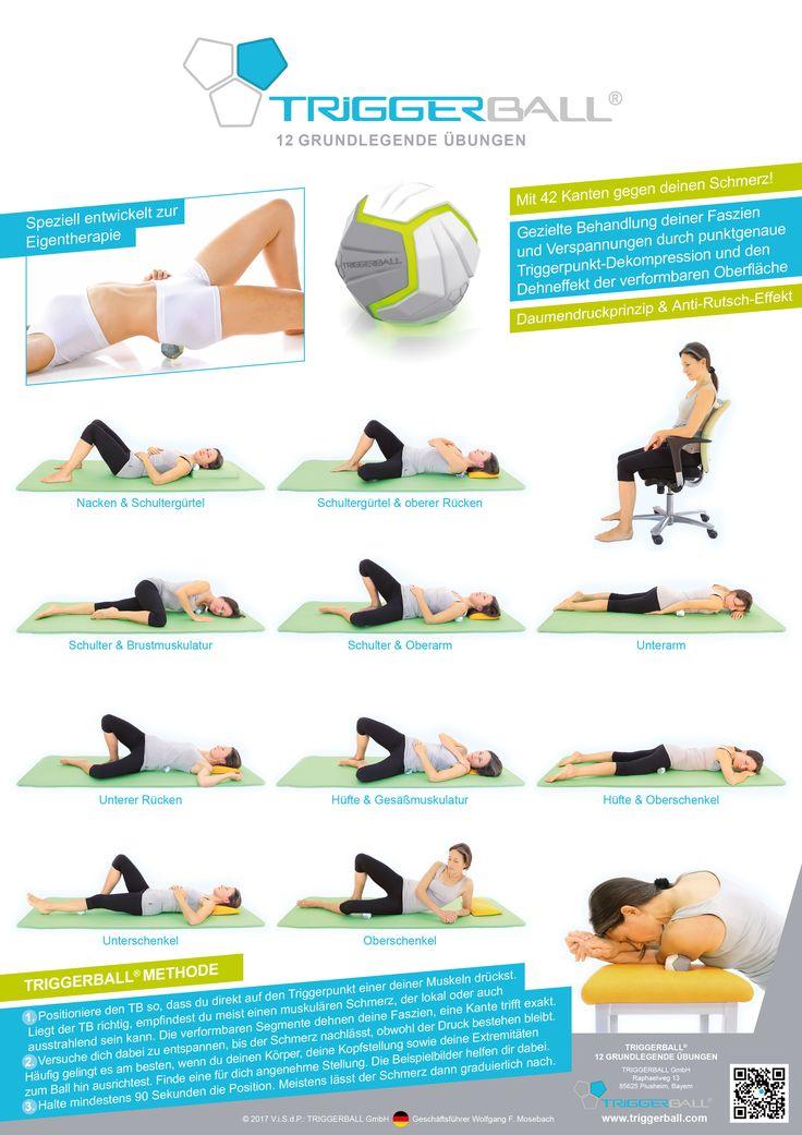 Die TRIGGERBALL®-Methode auf einem Ratgeber-Poster   TRIGGERBALL® – 12 GRUNDLEGENDE ÜBUNGEN  12 erklärende Übungsbeispiele zur Selbstbehandlung, basierend auf den bewährten Prinzipien der Osteopathie, manuellen Therapie und Akupressur.   Die TRIGGERBALL®-Übungen kombinieren präventive und therapeutische Elemente sinnvoll miteinander. Die Übungen sind leicht verständlich und für Sportler, sowie auch für Patienten mit myofasziellen Beschwerden geeignet. ©2017 TRIGGERBALL GmbH