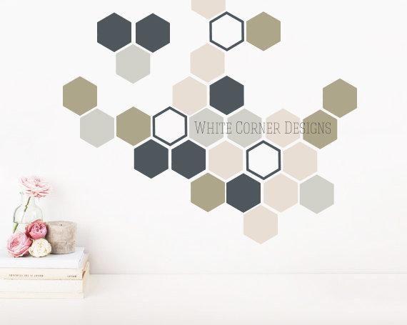 Honeycomb Wall Decals Hexagon Decals Geometric Wall Art Etsy In 2021 Wall Decals Geometric Wall Art Vinyl Wall Decals