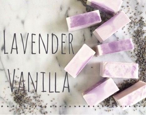 The relaxing fragrances of vanilla and lavender make a perfect combination in this soap recipe. #soapmaking #sheabutter