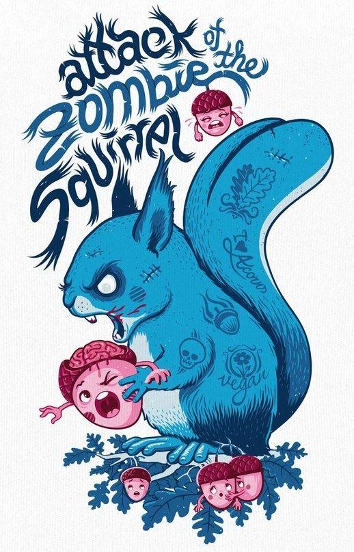 zombie squirrel: Zombies Apocalyp, Andrea Krapf, Walks Dead, Zombies Squirrels, Tshirt Design, Illustration, Comic Book, Squirrels Art, Zombies Stuff