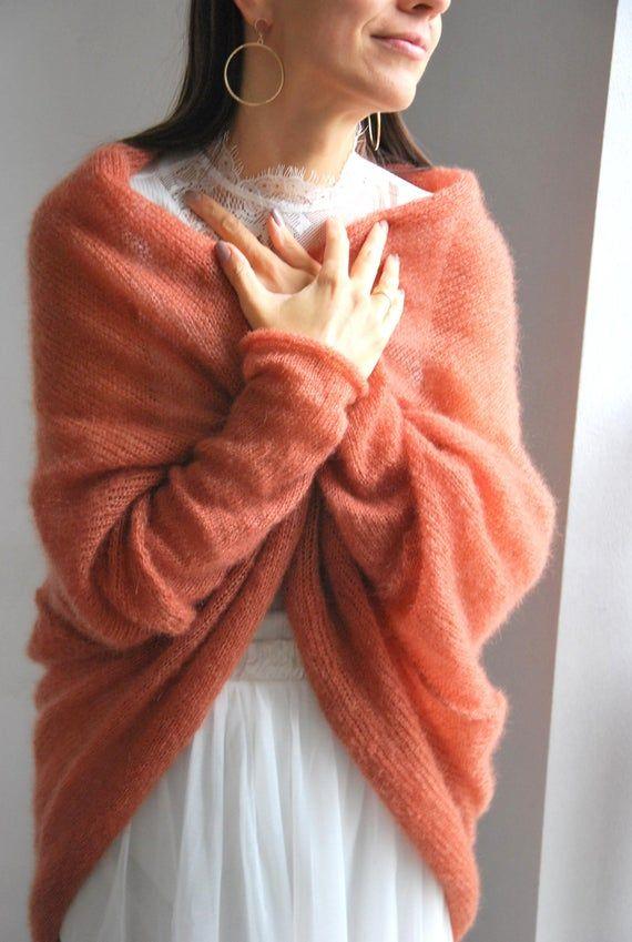 Rust mohair silk handmade cardigan, wedding rust pullover