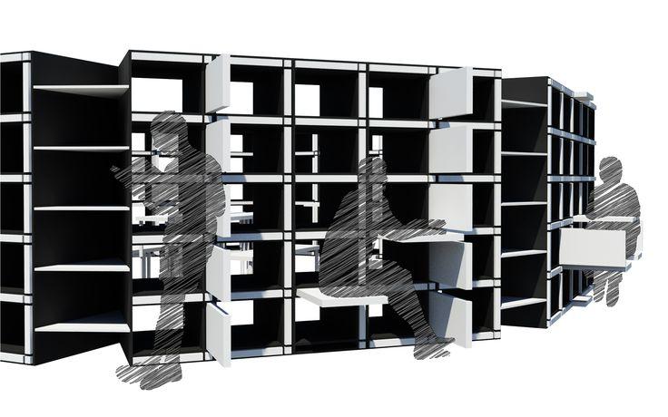 Configuration View B; 041188 Modular Bookcase; 2N Architectural Design; www.nikosnasis.com