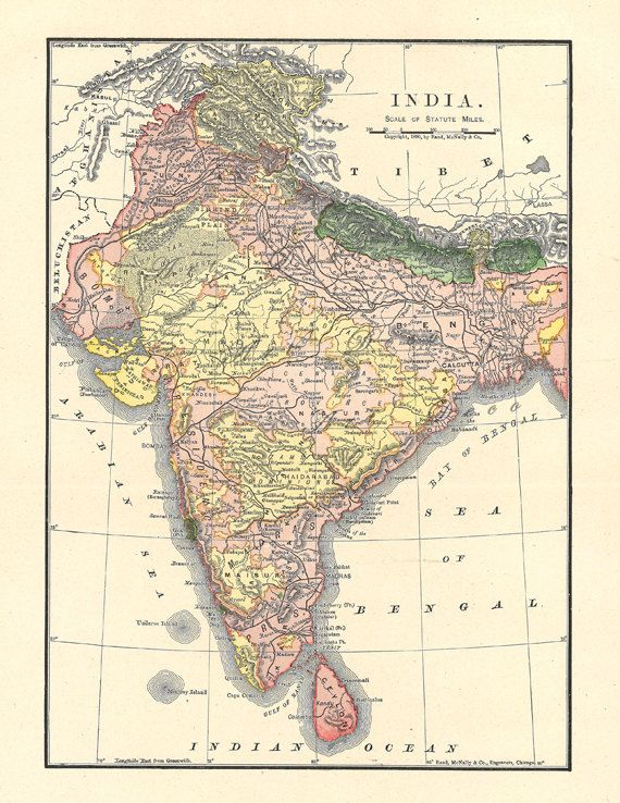 old map of India from 1904, a printable vintage map from ArtDeco on Etsy, a good source for vintage images.