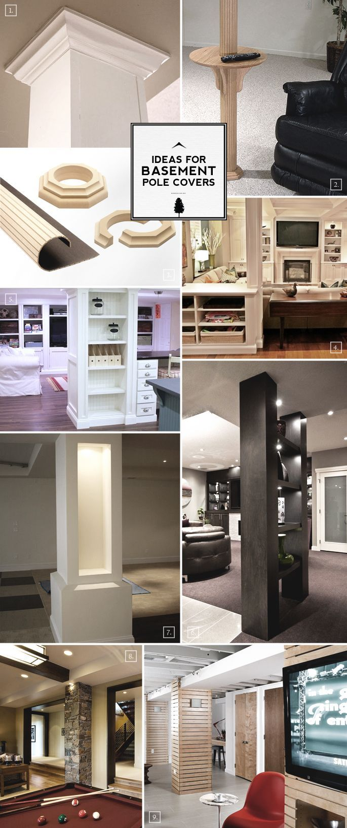 Design Ideas for Basement Pole Covers: From Functional to Decorative. Shut up - it never occurred to me to take that annoying pole in the basement and turn it into a shelving unit/room divider. Nice!
