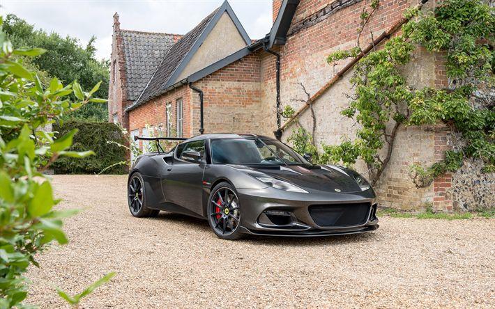 Indir duvar kağıdı Lotus Evora GT430, 2018, Spor arabalar, siyah Evora, ayarlama, Lotus