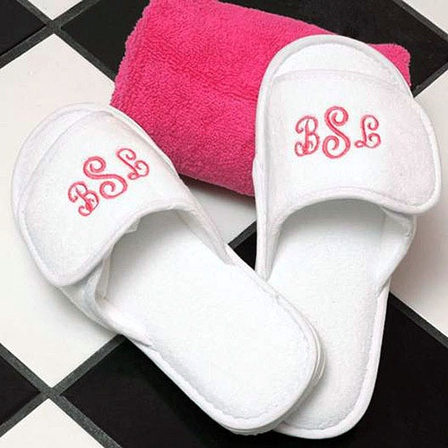 monogrammed spa slippers as favors for spa themed bridal shower
