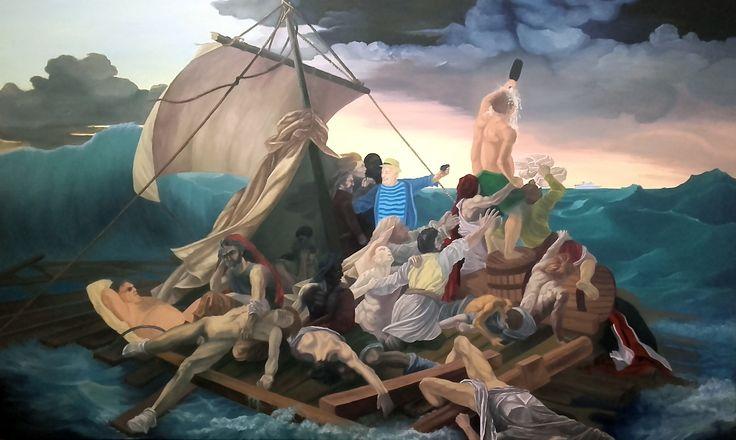 """La balsa de la medusa"", homenaje a Théodore Géricault. Óleo sobre lienzo  Medidas: 162cm x 97cm (2015)"