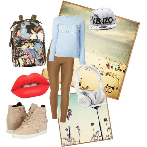 comfy day by june-kim-i on Polyvore featuring polyvore fashion style Kenzo Michael Kors Pierre Balmain Valentino Lime Crime Dot & Bo