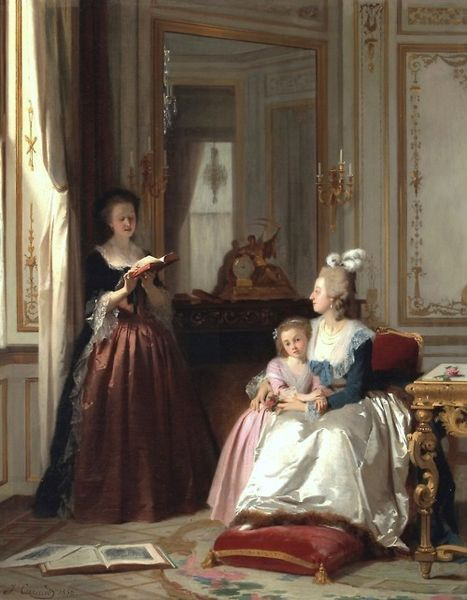 The Princesse de Lamballe reading to Marie Antoinette and her daughter